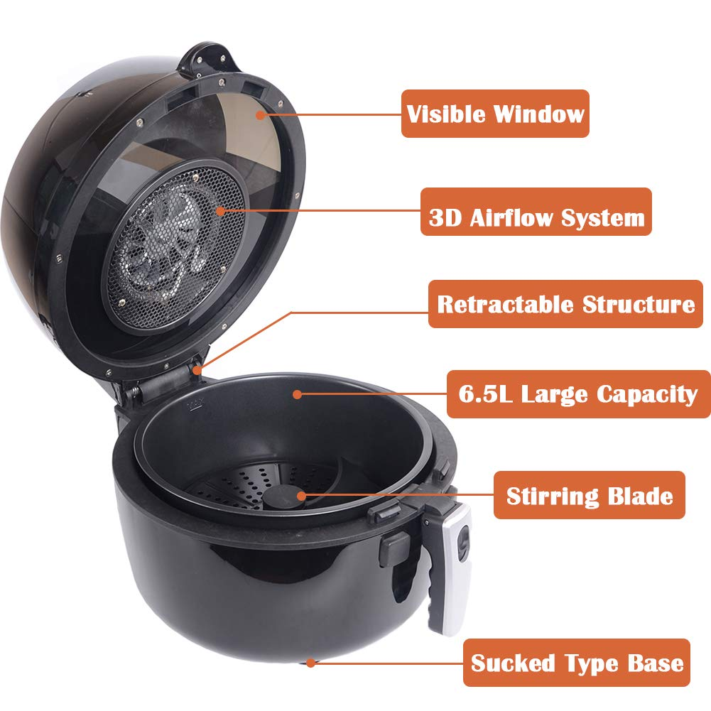 Amazon.com: Ambershine XXL Hot Air Fryer Family Size 6.5 Liter Pan/ Upgraded Full Touch Screen with Stirring Blade and Grill/ Oil Free Air Cooker/ ...
