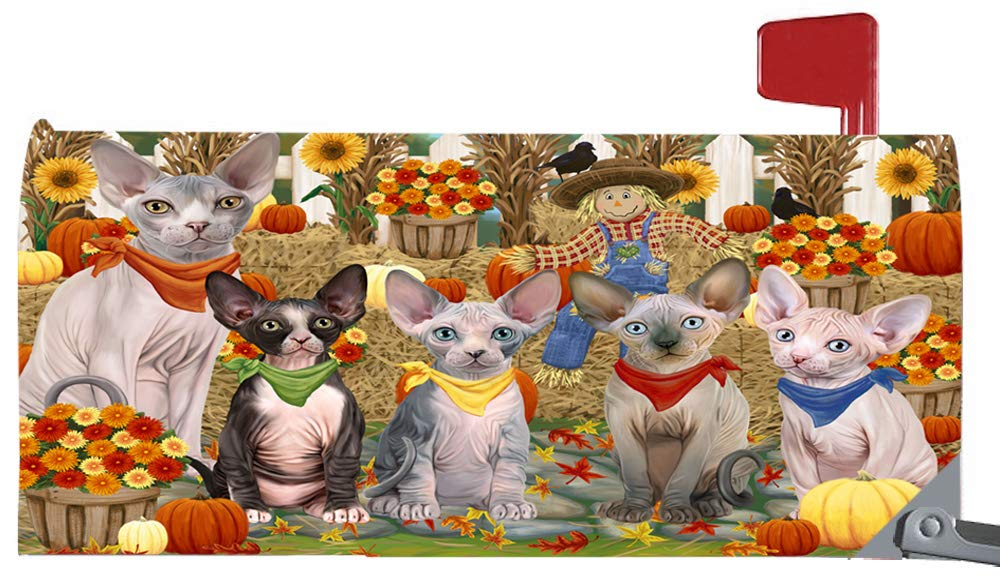 Magnetic Mailbox Cover Harvest Time Festival Day Sphynx Cats MBC48077