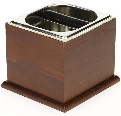 GIGIEroch Contenedor de Caja de café para café molido Granos de Café Cubo Solid Wood Barrel posos de café del depósito de posos (Color : Marrón, tamaño : 20.3x19.3cm): Amazon.es: Hogar