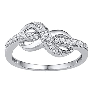 bague or blanc diamant infini