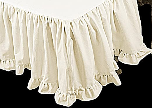 Solid White 400 TC Cotton Dust Ruffle Bed Skirt Split Corner US Bed Size Drop