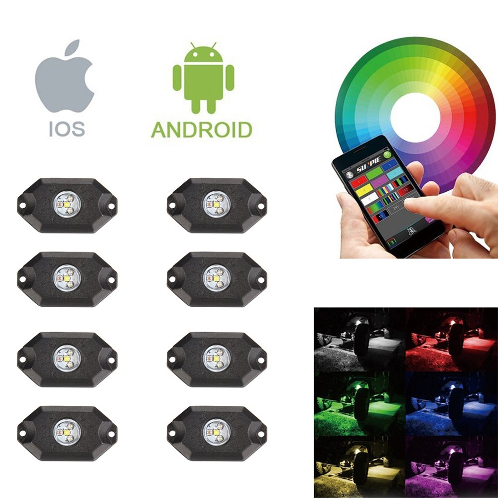 JIGUOOR 8 Pods RGBW LED Rock Lights with Upgraded APP Bluetooth Controller, Timing Function, Music Mode-Upgraded Multicolor Neon LED Light Kit