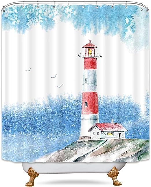 YATELI Nautischer Leuchtturm und Anker 12 St/ück Duschvorhangringe Duschvorhang Haken aus Edelstahl Vorhangringe Duschringe Aufh/ängeringe mit Gleitsystem