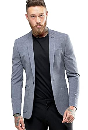 Menjestic Men s Slim Fit Blazer With Grey Lapel  Amazon.in  Clothing    Accessories 43aec884b