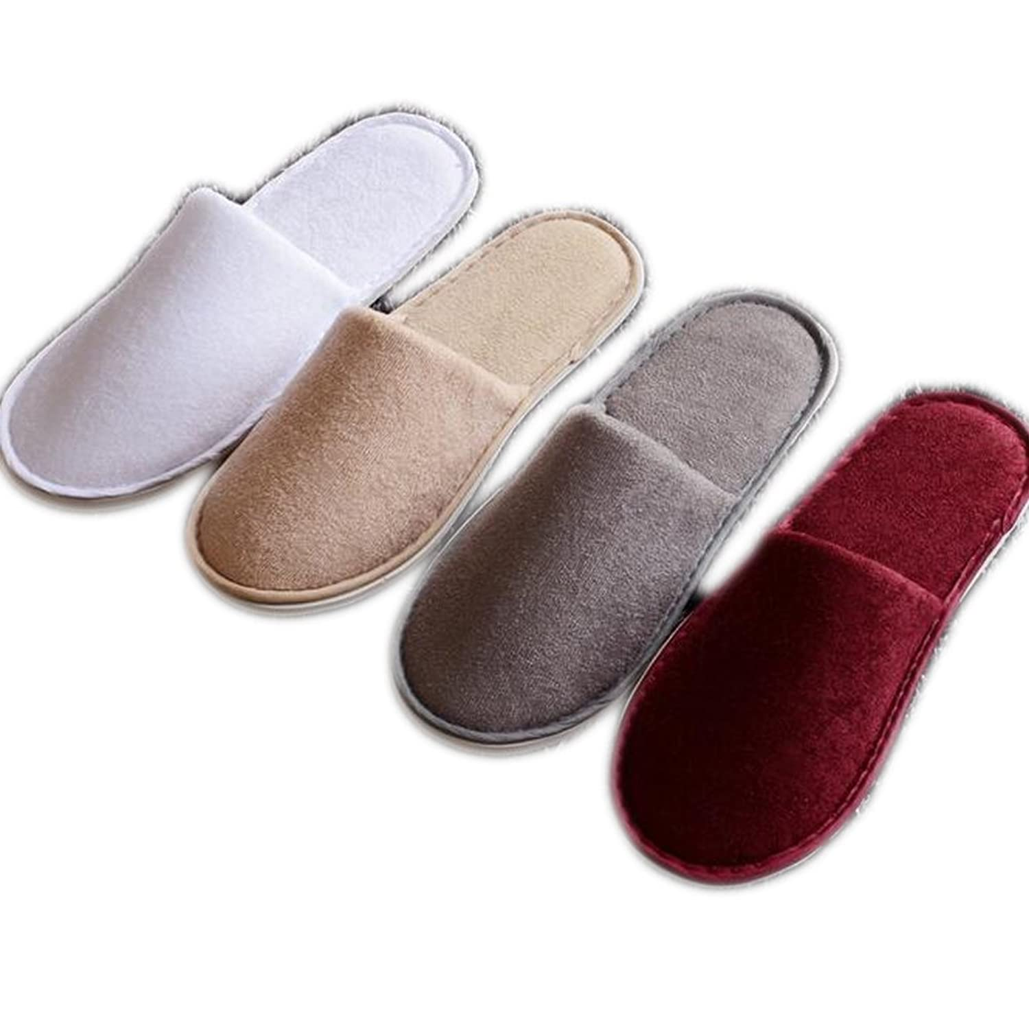4 Pairs Men Women Cotton Cloth Slip On House Slippers