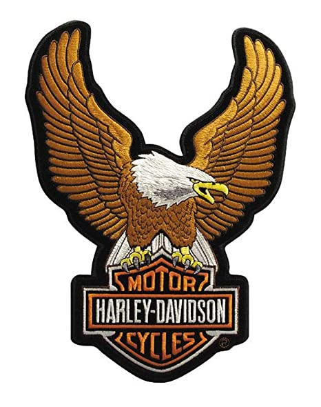amazon com harley davidson eagle winged large brown patch 7 3 4