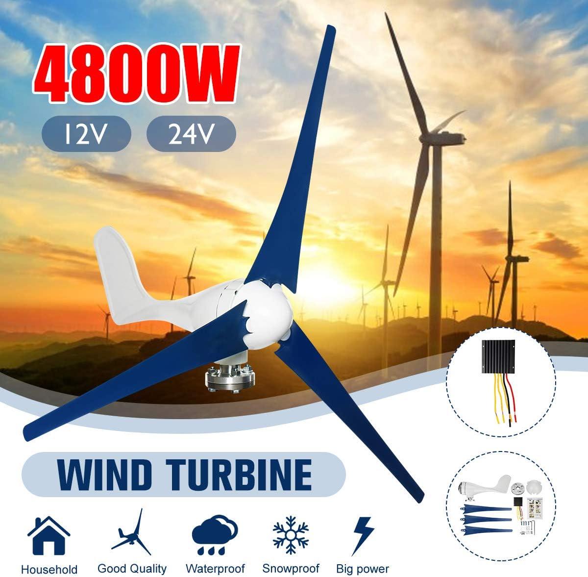 GJR 4800W 12V / 24V del Viento generador de turbinas de Viento con el regulador del generador del Molino de Viento Energía Carga Turbinas: Amazon.es: Deportes y aire libre