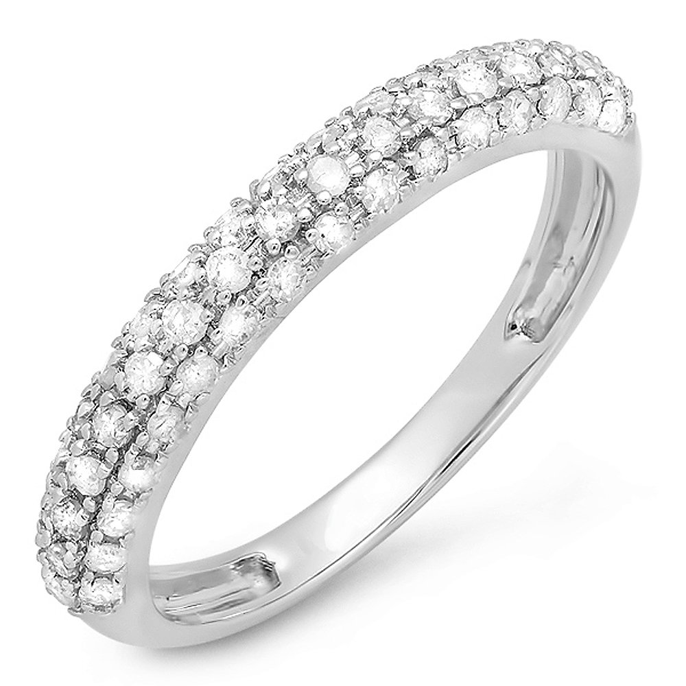 Dazzlingrock Collection 0.43 Carat (ctw) 18K Round White Diamond Ladies Wedding Band Stackable Ring, White Gold, Size 7 by Dazzlingrock Collection