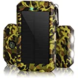 Solar Chargers 30,000mAh, Dualpow Portable Dual USB Solar Battery Charger External Battery Pack Phone Charger Power Bank with Flashlight for Smartphones Tablet Camera (Camouflage)