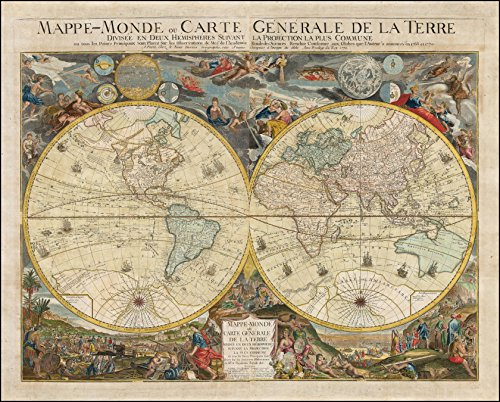 (Framed Art Your Wall Map Desnos' Spectacular Double Hemisphere World Map from 1772 an Extravagant Fictitious Australian East Coast 10x13 Frame)