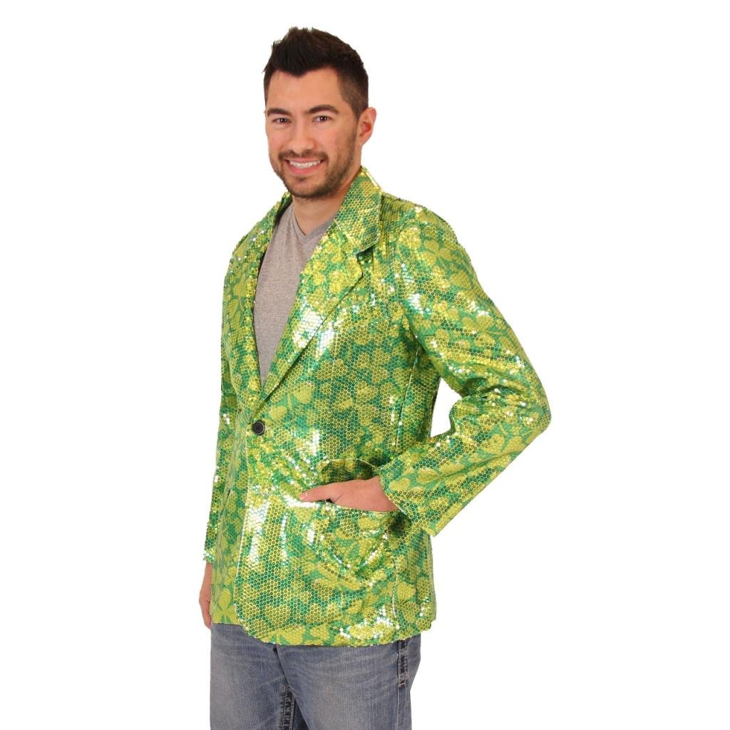 Sequin St. Patrick's Day Irish Four Leaf Clover Suit Jacket (Large/X-Large)