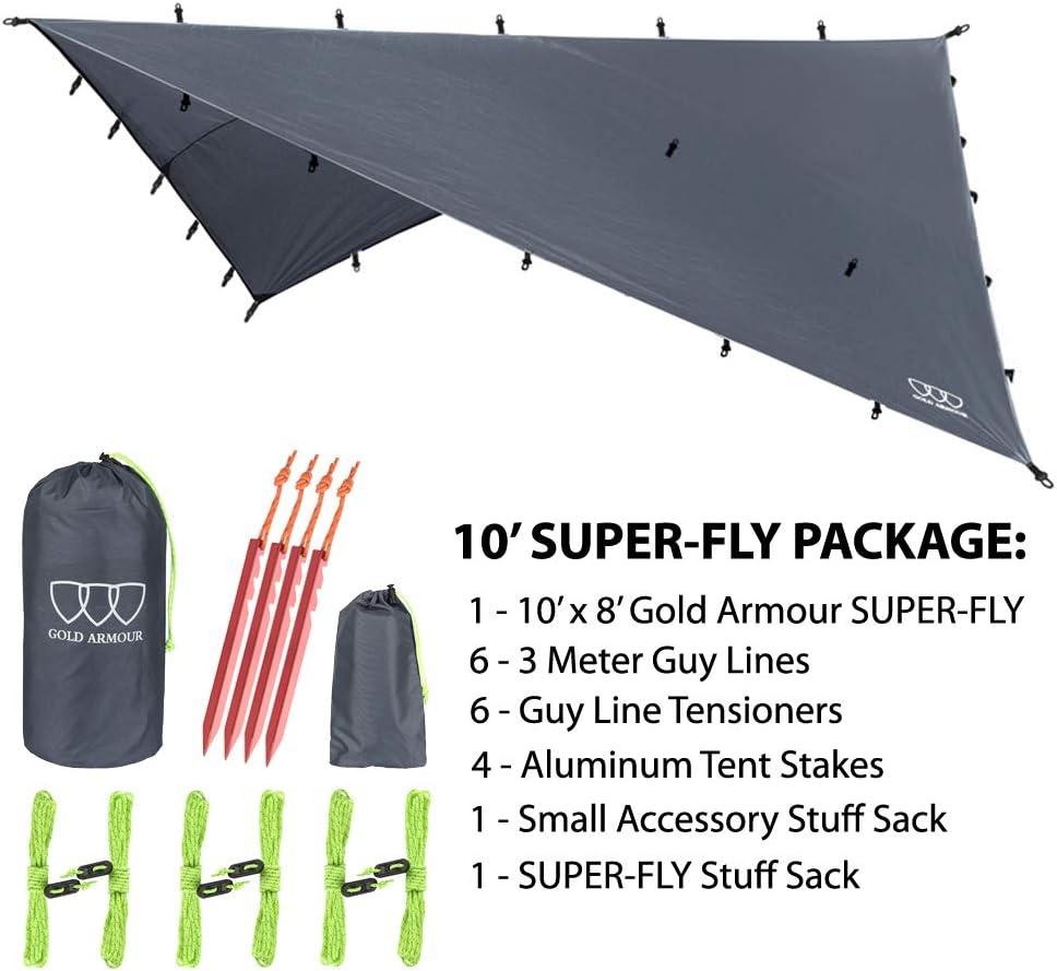 Premium 14.7ft//12ft//10ft//8ft Rain Fly Cover, Gold Armour Rainfly Bâche hamac