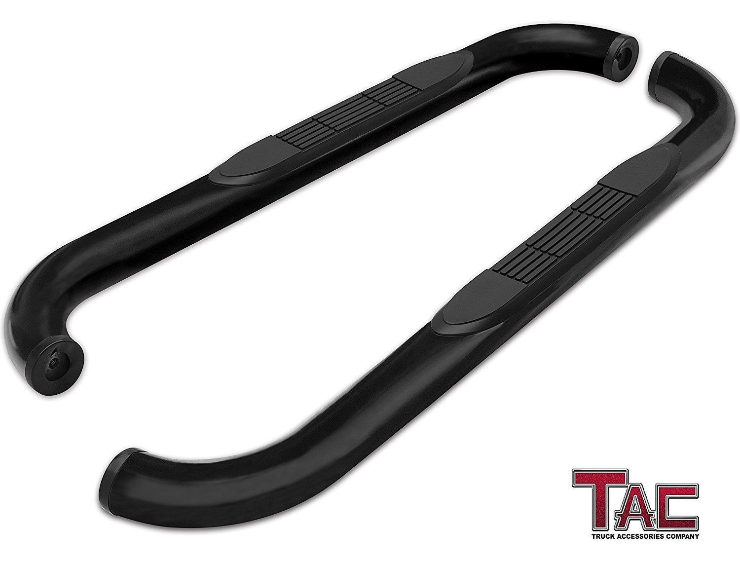 TAC Side Steps for 1988-1998 Chevy C/K Regular Cab / GMC C/K Regular Cab Pickup Truck 3' Black Side Bars Nerf Bars Running Boards Rock Panel Off Road Exterior Accessories (2 Pieces Running Boards)