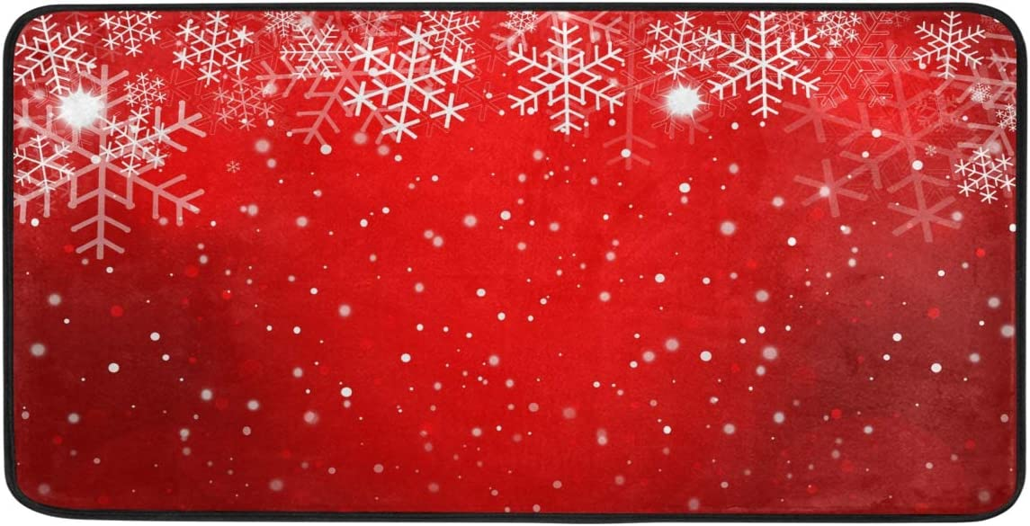 "Red Christmas Style Anti Fatigue Kitchen Mat, Blueangle Decoration Mats, Waterproof Non Slip for Indoor Outdoor Home Office Use, 20"" x 39"": Kitchen & Dining"