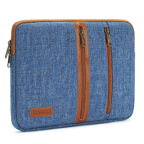 (DOMISO 10 Inch Laptop Sleeve Canvas Notebook with Zipper Tablet Pouch Cover 3 Layer Protection Bag 2 Pockets Case for 12