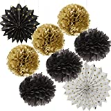 Wcaro Black Gold White Party Decor Kit Paper Fan Paper Tissue Pom Poms Hanging Flower Ball for Wedding,Birthday,Baby,Bridal Shower,Room decor &Themed Party Decoration Favor