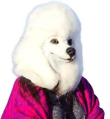 WHITE Poodle Dog Mask Latex Dog Full head Animal Fancy Dress Costume Masks