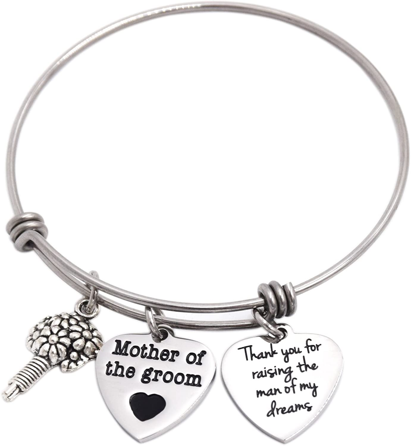 LParkin Mother of The Groom Adjustable Bangle Thank You for Raising The Man of My Dreams Bracelet