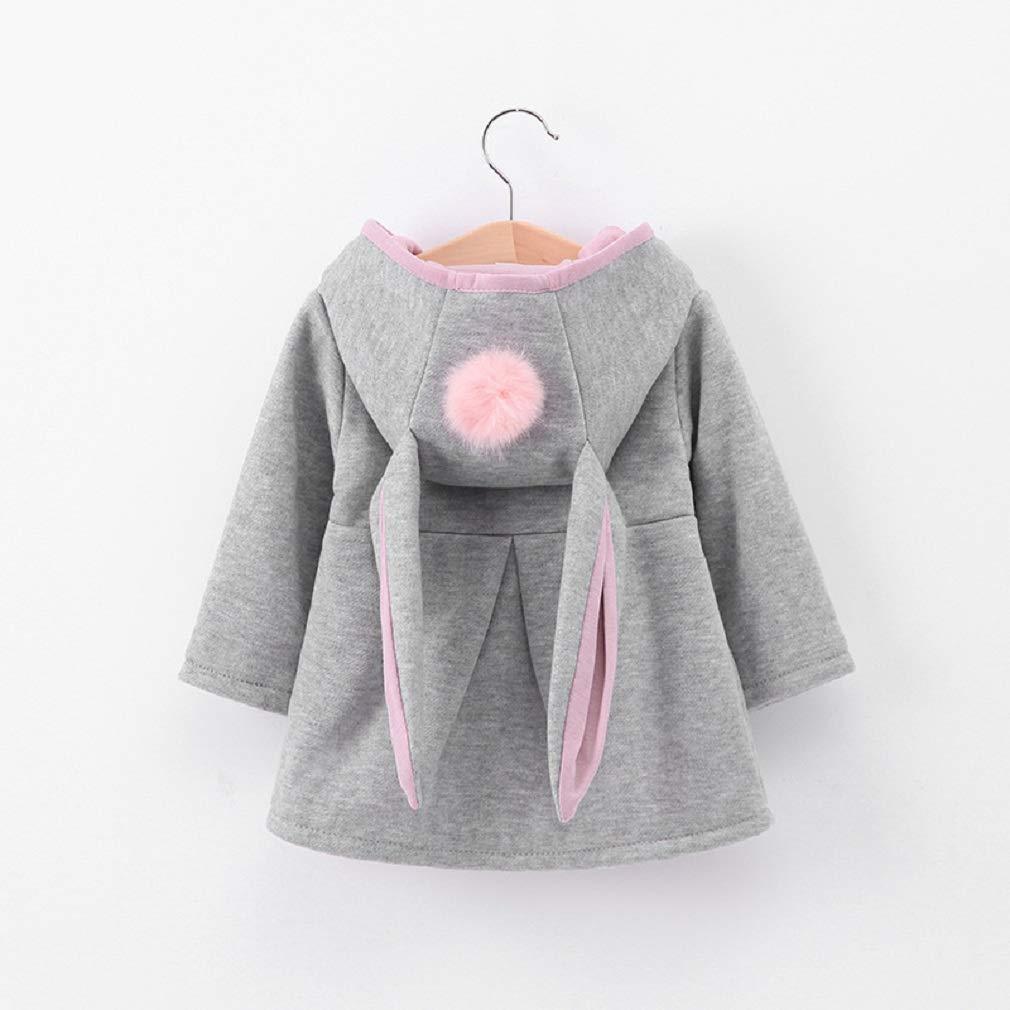 Girls Coats Allskid Toddler Baby Girls Cute Bunny Ears Hooded Warm Outerwear