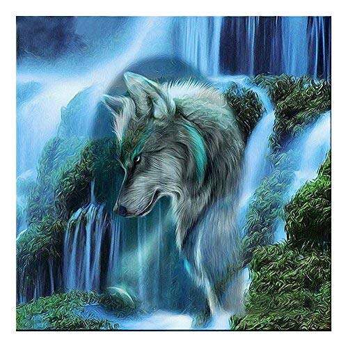 DIVIC 5d Diamond - Waterfall Wolf 5d Diamond Diy Painting Kit Round Drill Rhinestone Pasted Crafts Needlework Home - Container House Cat Mona Jesus Lion Beast Multi Beach Light