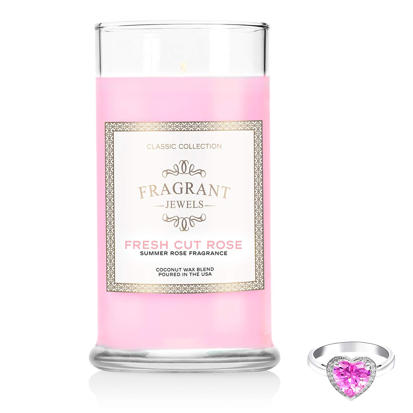 Fragrant Jewels Fresh Cut Rose Jewel Candle with Collectible Rings (Size 5-10) by Fragrant Jewels