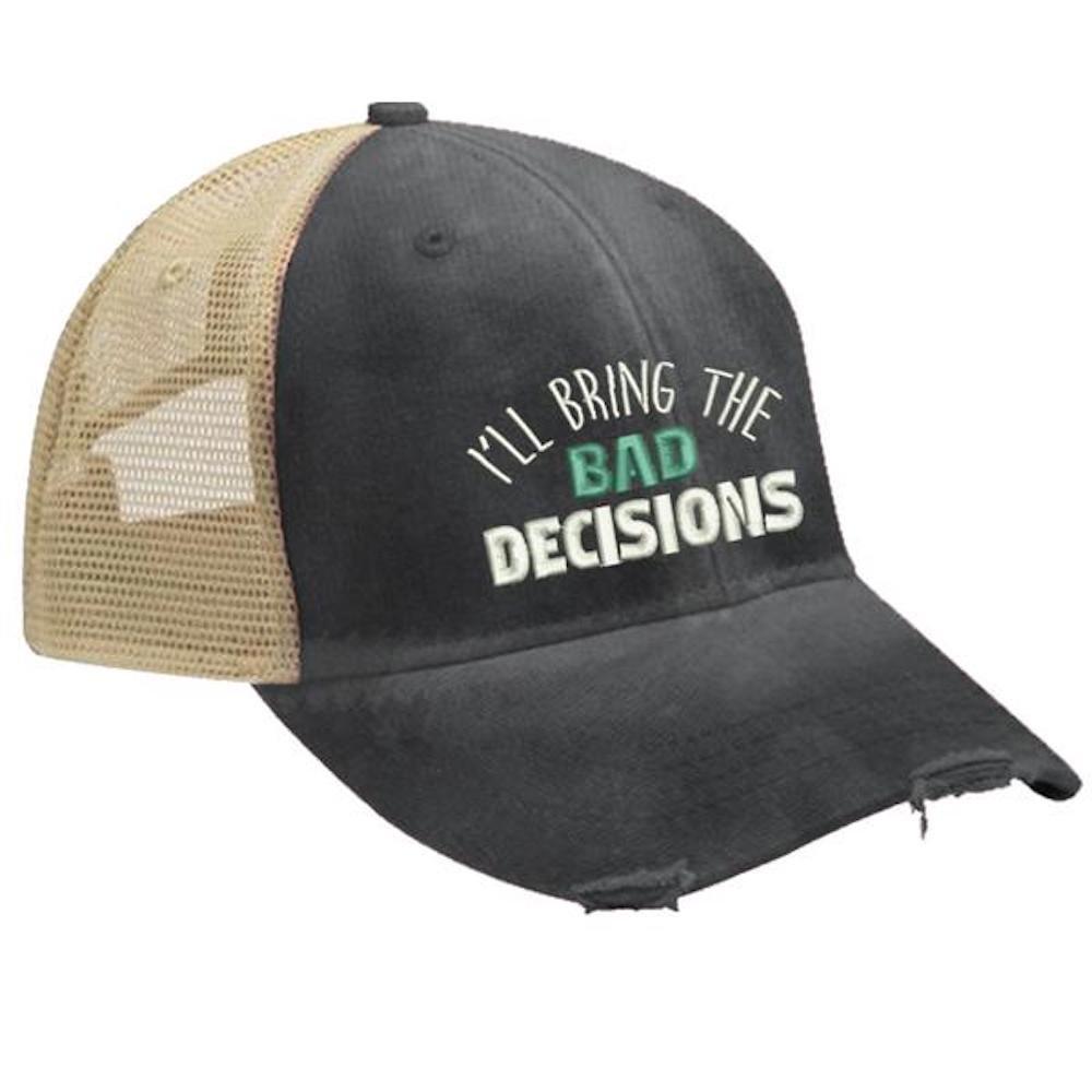Piper Lou - I'll Bring The Bad Decisions Trucker Hat with Snapback Enclosure - Black