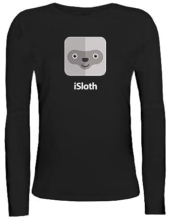 Faultier Damen Longsleeve Langarm T-Shirt mit iSloth Motiv von ShirtStreet,  Größe: S