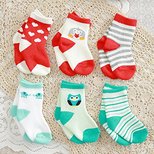 LUXEHOME (YR1602) Baby Toddler Cartoon Cotton Socks,12 Pairs per Package (S 0-1 Year)