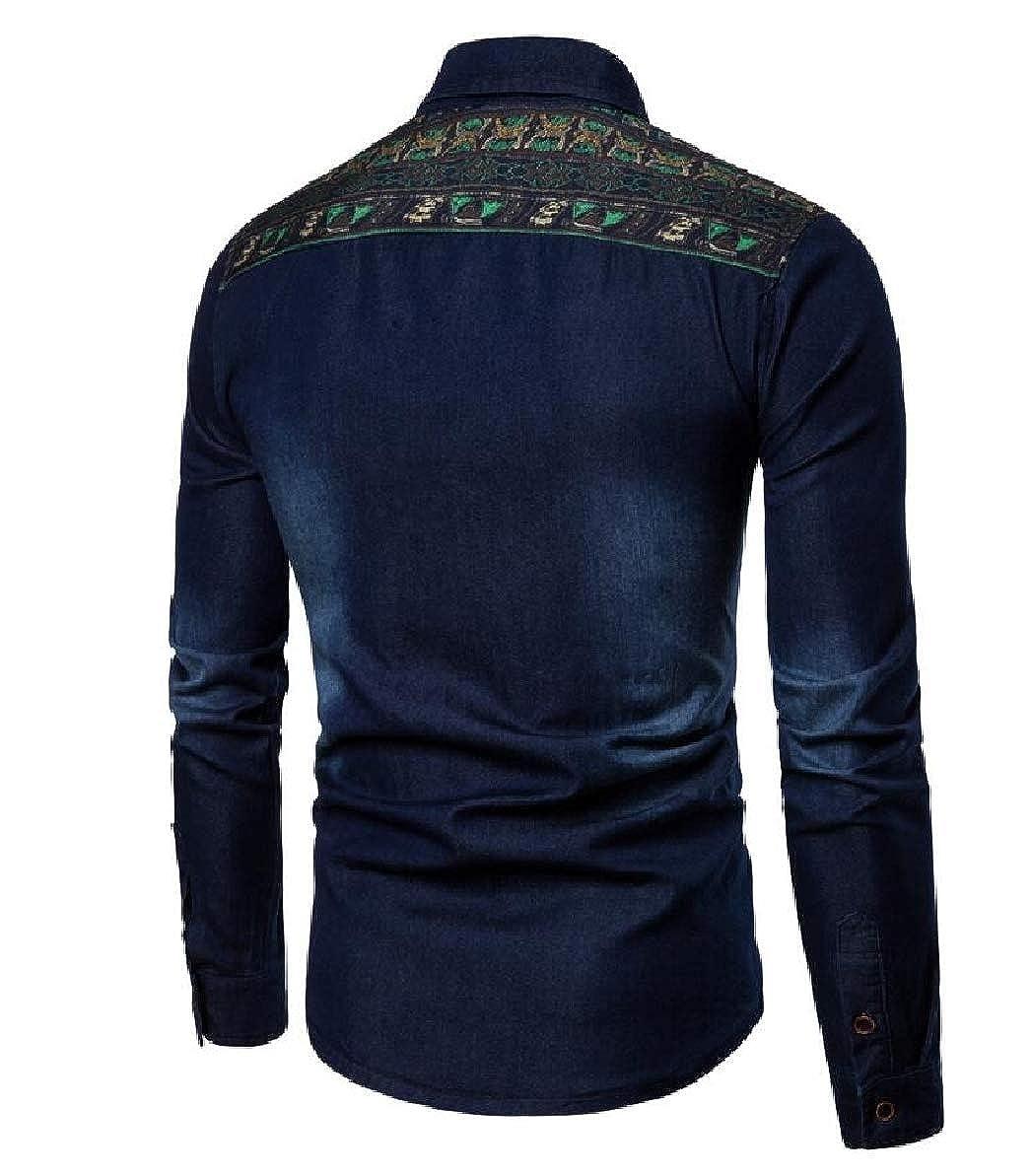 FLCH+YIGE Mens Slim Fit Printed Shirt Long Sleeve Button Down Autumn Denim Shirts