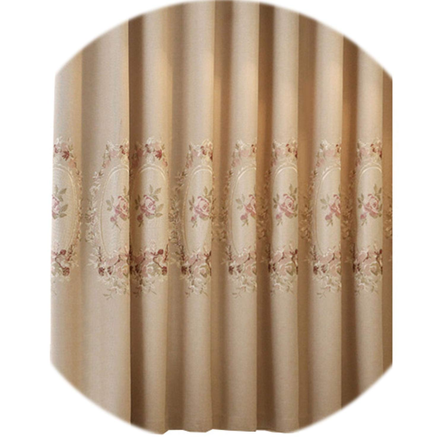 No Buy No Bye Blackout Curtains Faux Linen Embroidered Luxury Curtain Navy Blue Green Purple Floral Living Room Window Curtain Modern,Cream,W500cm L270cm,Pull Pleated Tape