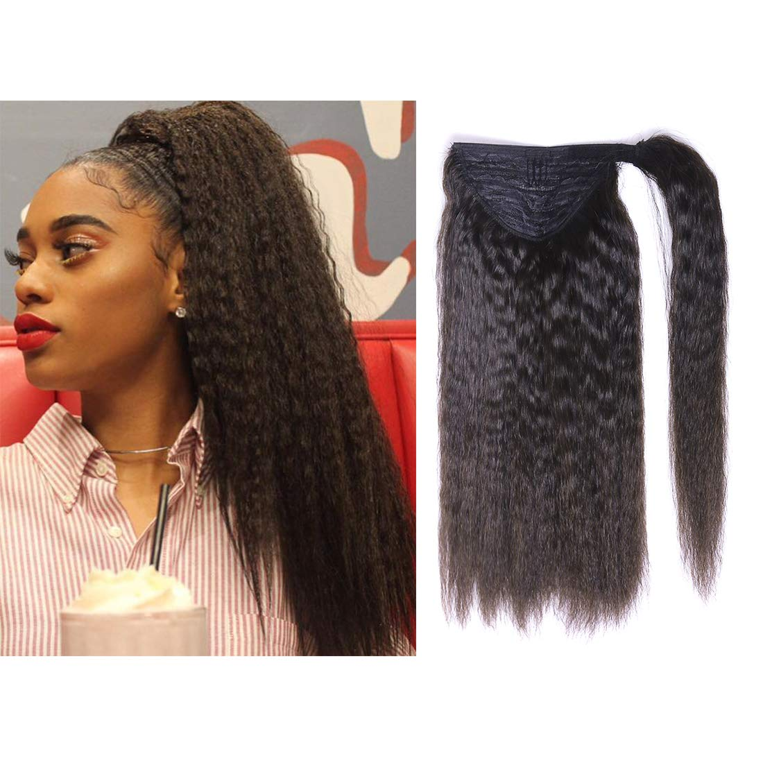 LacerHair Kinky Yaki Straight Ponytail Remy Human Hair Extension Wrap Around Coarse Curly Top Closure Clip Ins 100g/Piece Natural Black for Black Women 10-22 inch (20 inch, Kinky Straight #1B)