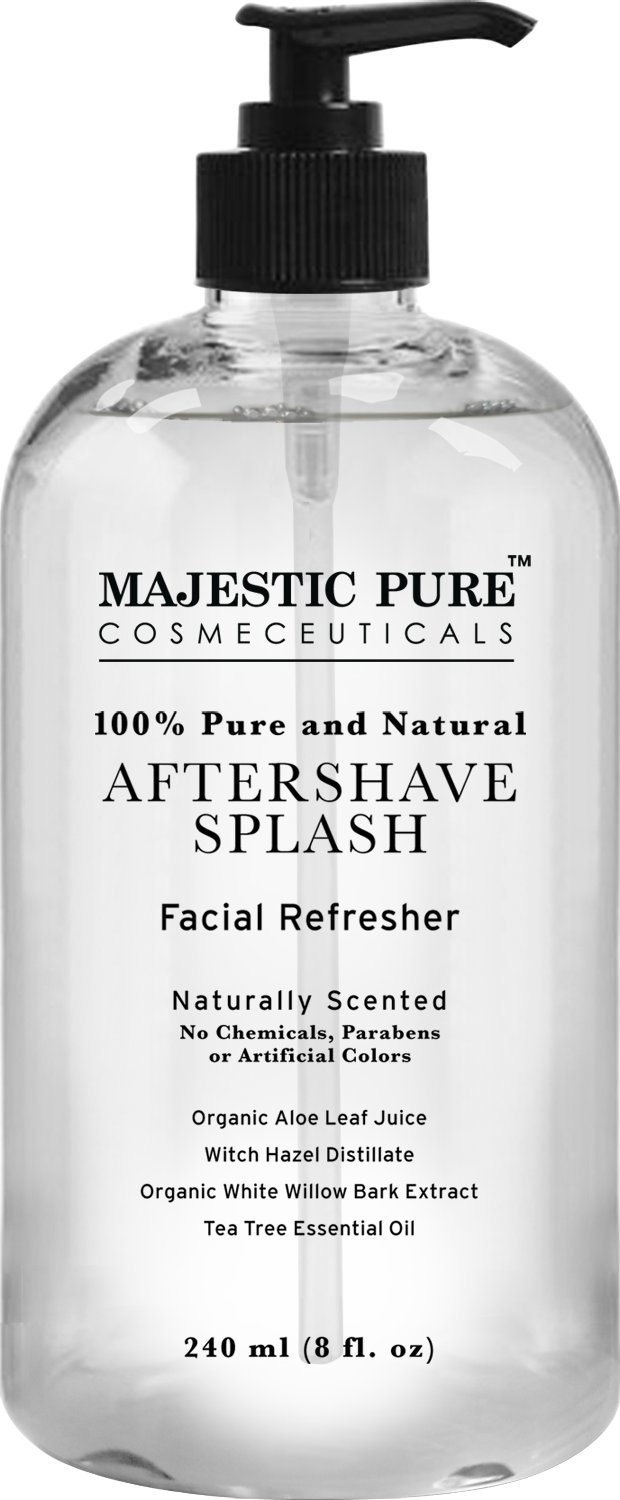 Majestic Pure Aftershave Splash with Organic Aloe, Witch Hazel, White Willow, and Tea Tree, 8 fl Oz