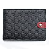 Gucci Black Green Red Leather Wallet Guccissima style Box New Tricolor Italy