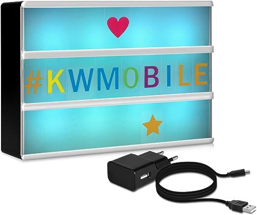 Light box USB e batteria Lavagna luminosa luce LED A6 illuminazione in 7 colori con 126 lettere nere kwmobile Lightbox luminoso cambia colore