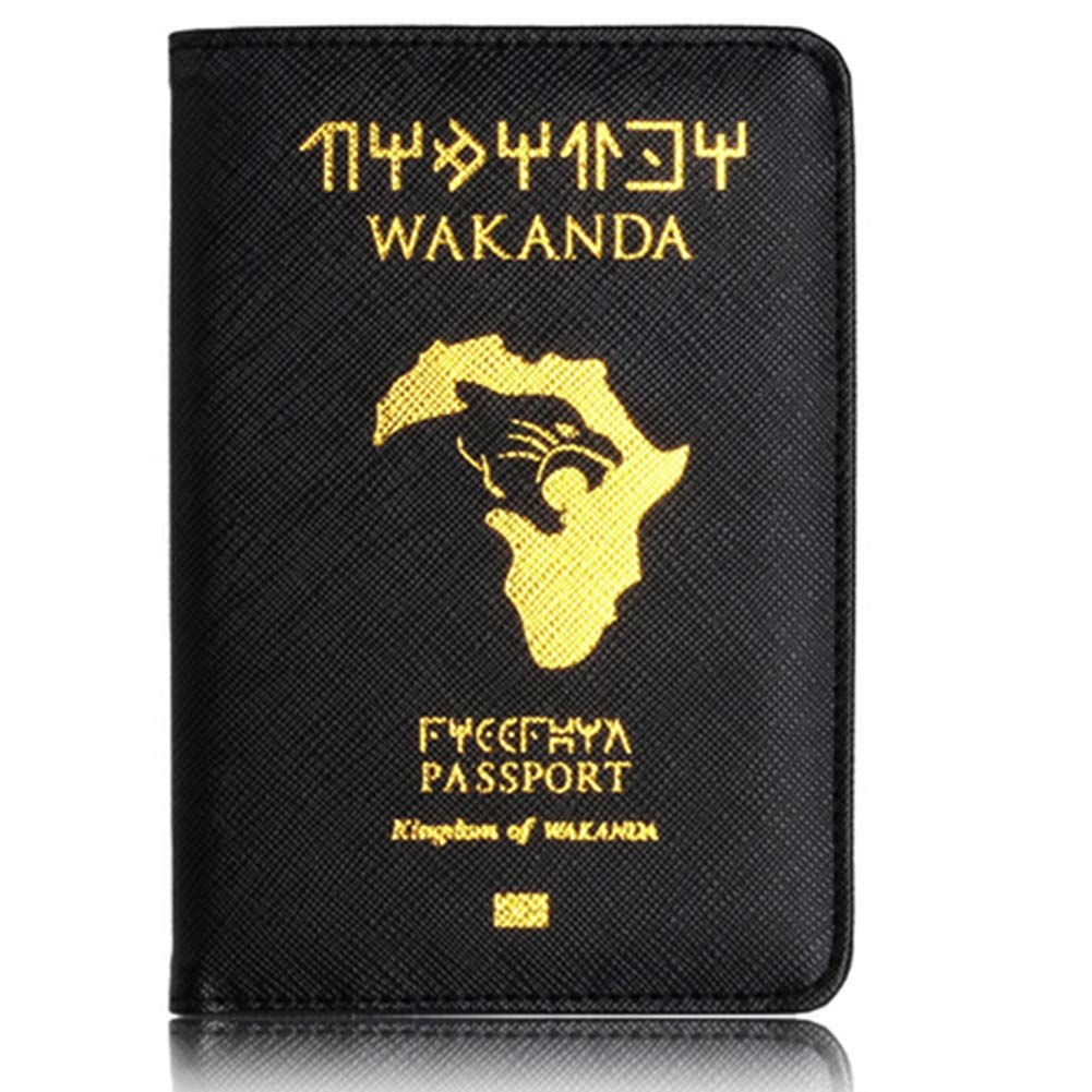 Ndier Porte-Passeport en Cuir PU Passeport Porte Housse IRF Covers Voyage Marron Rouge (Kingdom of Wakanda) Sac à Dos/Porte-Carte
