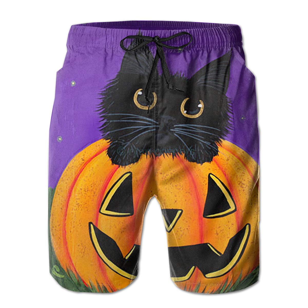 Mens Halloween Cat Drive A Pumpkin Shorts Pockets Swim Trunks Beach Shorts,Boardshort
