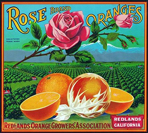 Redlands, California - Rose Brand Citrus - Vintage Crate Label (9x12 Art Print, Wall Decor Travel Poster)