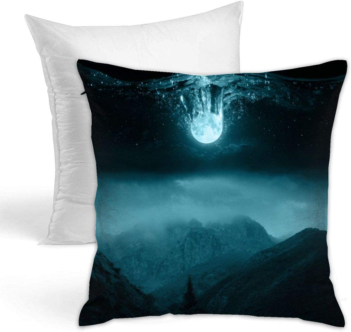 Amazon Com Ultra Soft Round Moon Water Drop Big Mountain Print Square Throw Pillow Insert Sofa Bedroom Decorative Cushion Have Stuffer 17 X17 Home Kitchen