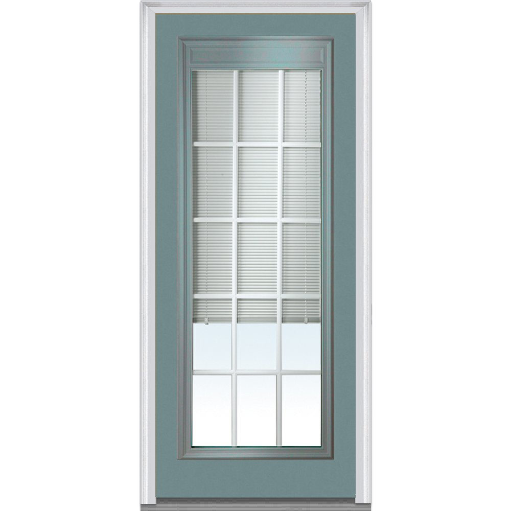 National Door Company Z010553L Steel Riverway, Left Hand In-swing, Prehung Door, Full Lite, Clear Low-E Glass with RLB and GBG, 32'' x 80''