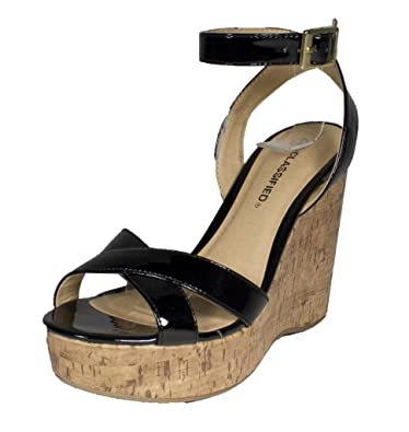 79640f59c11 By City Classified Criss-Cross Starp Platform Cork Wedge Sandal with Ankle  Strap