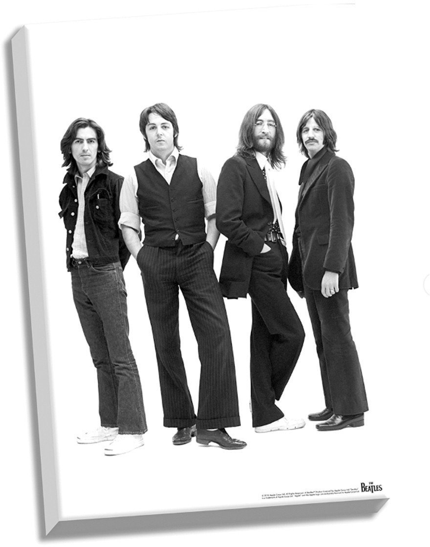 The Beatles 1969 Group Pose White Background Stretched 24 inch x 36 inch Canvas