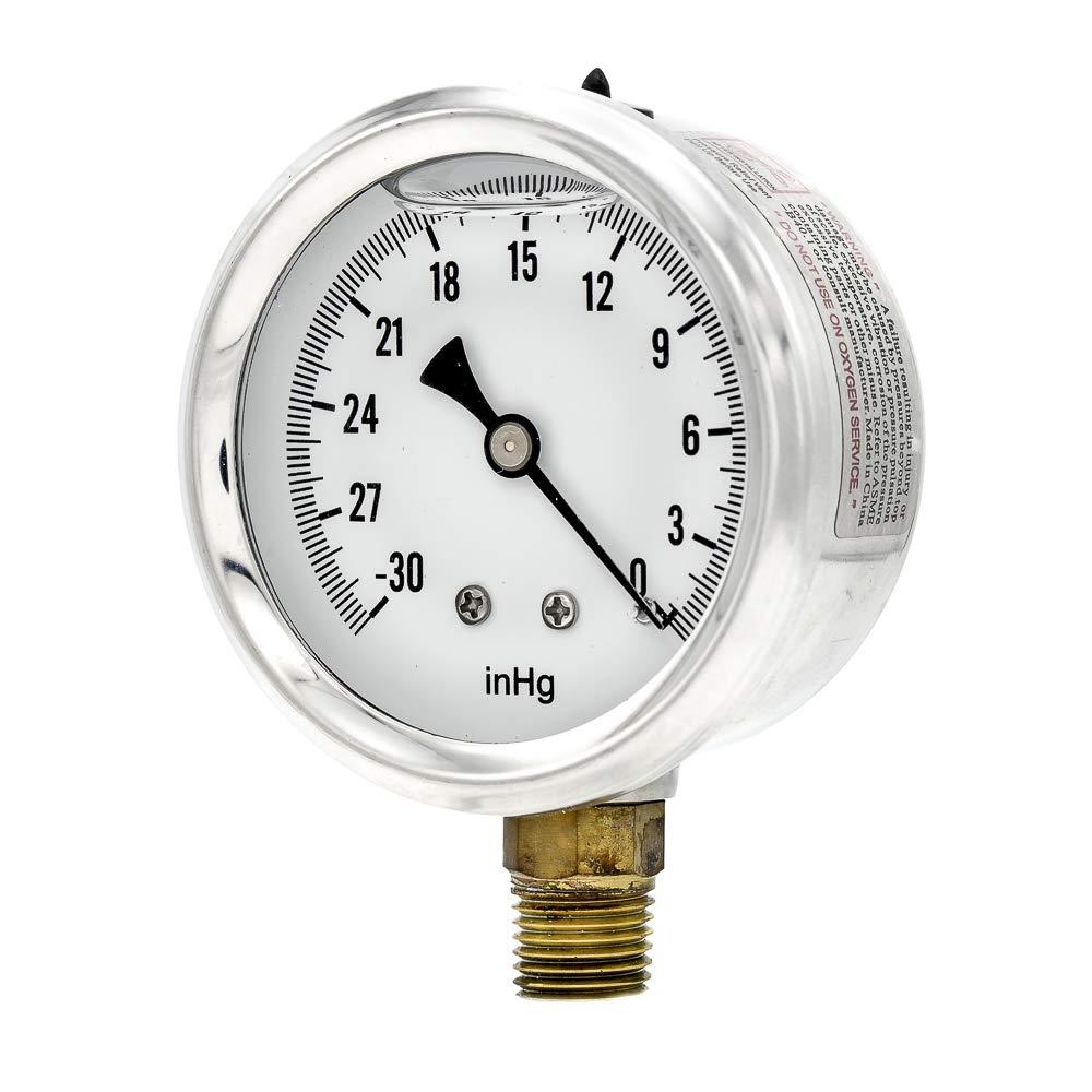 "PIC Gauge S201L-254A 30""-0 hg Vacuum PSI Pressure Gauge, 2 1/2"" Dial, 1/4"" Male NPT Connection, Bottom Mount, Single Scale, Glycerin Filled, Stainless Steel Case/Bezel, Brass Internals & Plastic Lens"