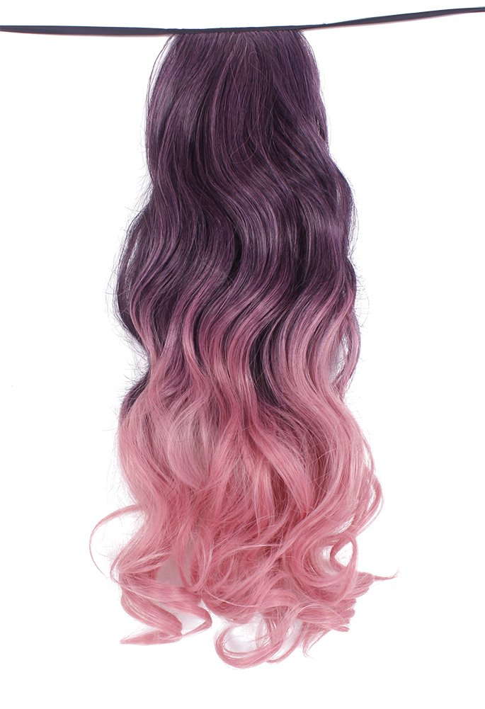 """Diforbeauty 20"""" Diforbeauty 20"""" Long Curly Wave Two Tone Ponytail Drawstring Wrap&clip in Synthetic Hair Extensions (Dark Pink Ombre)"""