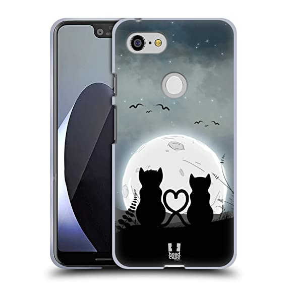 Amazon com: Head Case Designs Couple Cat and Moon Soft Gel Case for