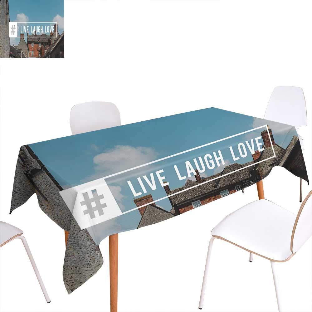 familytaste Live Laugh Love 長方形テーブルクロス Memphis スタイル 航海 インスピレーション 手描き アンカー かわいい引用 長方形 しわ防止 テーブルクロス マルチカラー W60