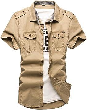 MKDLJY Camisas Camisas tácticas para Hombres Camisa de Trabajo de Manga Corta 100% algodón más el tamaño 5XL: Amazon.es: Deportes y aire libre