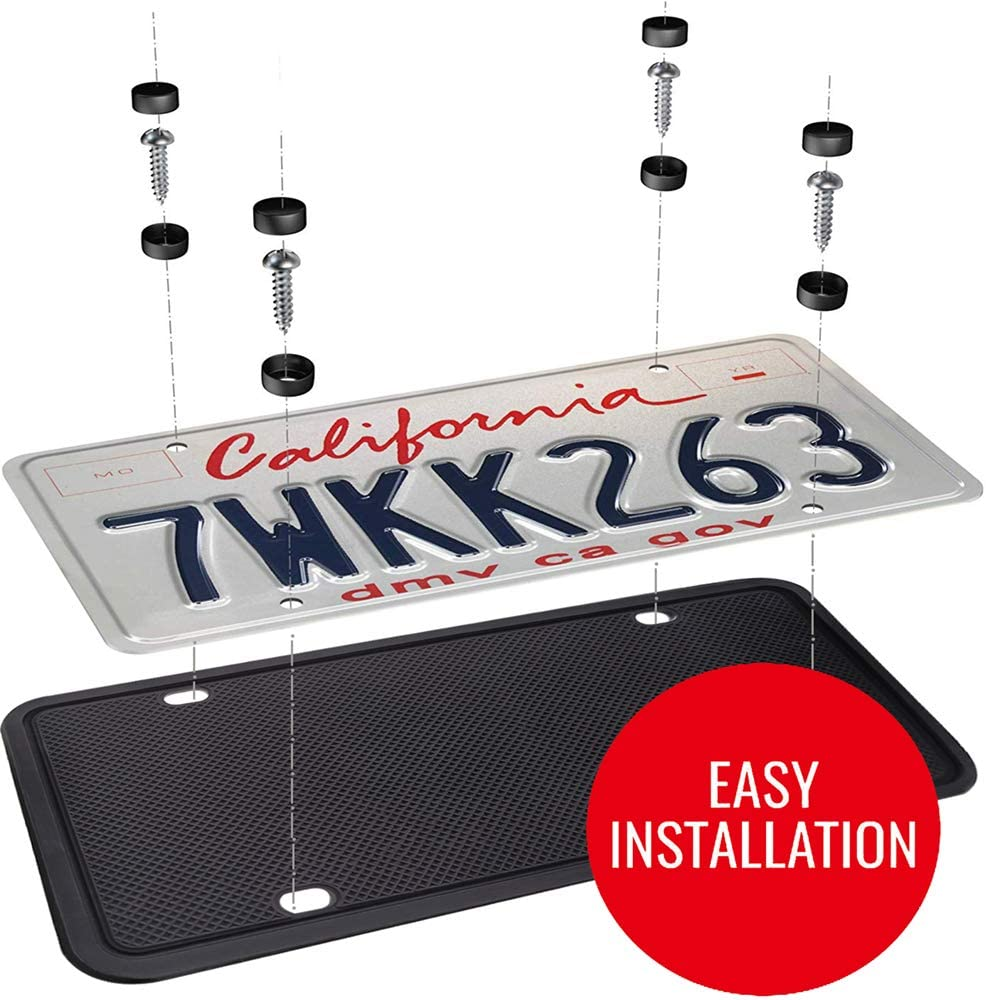 Weather-Proof and Rattle-Proof Thick Silicone License Plate Holder Rust-Proof BOKA License Plate Frame Universal American Auto Black License Plate Frame with Plating Screw /& Washer