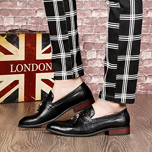 EnllerviiD Men Slip On Leather Tassel Loafers Classic Point Toe Brogue Dress Oxfords Shoes 8607 Black fNtu3