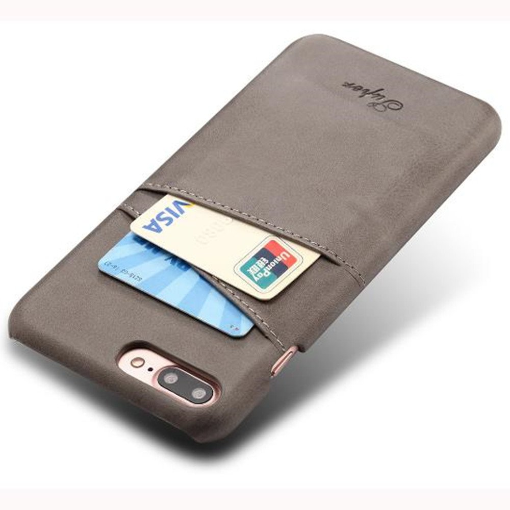 iPhone 7 Plus Luxury Synthetic Leather Case,Aulzaju iPhone 8 Plus Super Slim Cow Leather Credit Card Case Fashion Comforatable Wallet Cover for iPhone 7 Plus/8 Plus-Gray by Aulzaju (Image #1)