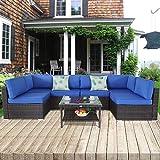 Ouside Patio Furniture Brown Rattan Sofa Wicker Sectional Sofa Set Conversation Set Garden Couch Royal Blue Cushion 7pcs
